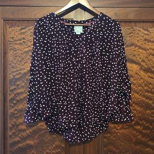 Maeve maroon polka dot blouse size medium